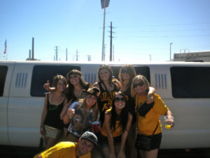 Kat & I with her awesome roommates on our way to a footy game in Denver.