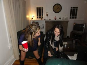 Lindsey & I dancing in her lounge room. I am 95% sure we were drunk.