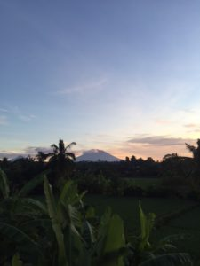 The view of Mount Batur from our villa.